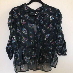free people sheer floral print button shirt Sz L